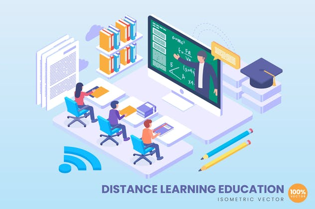Isometric Distance Learning Education Concept