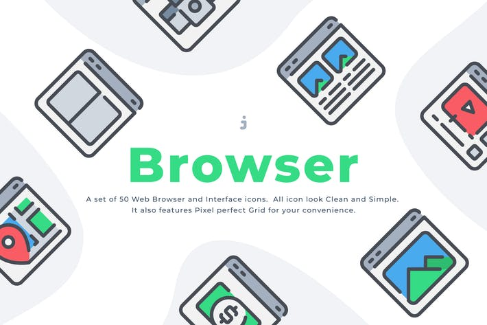 Thumbnail for 50 Web Browser icon set