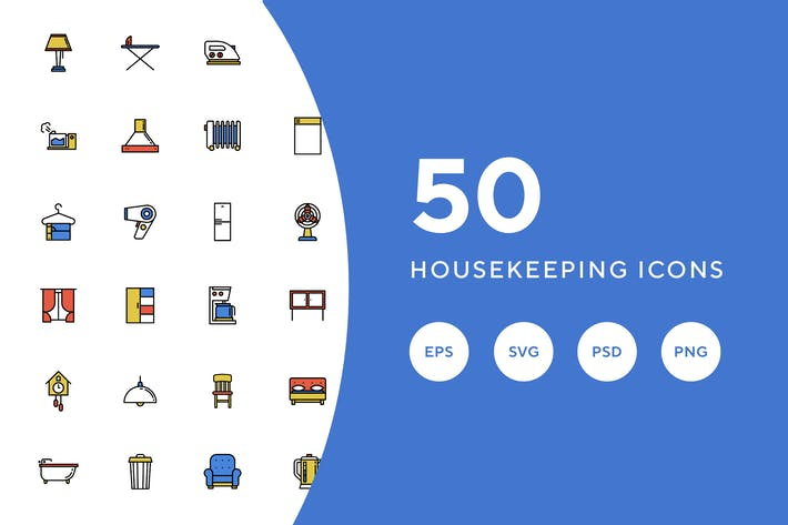 Thumbnail for 50 Housekeeping Icons
