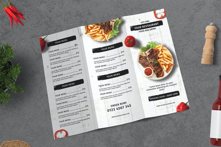 Thumbnail for Restaurant Menu Trifold Brochure