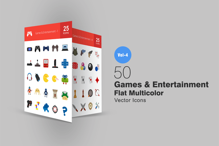 Thumbnail for 50 Games & Entertainment Flat Multicolor Icons