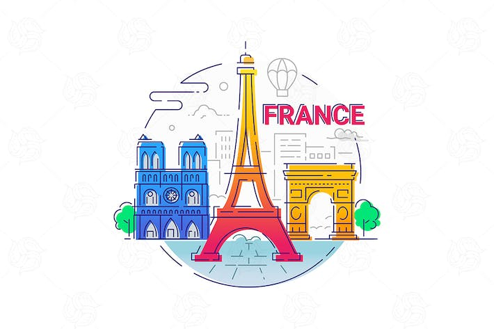 Thumbnail for France - modern vector line travel illustration