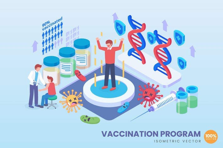 Isometric Vaccination Program Concept