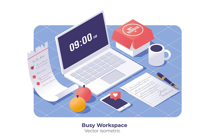 Thumbnail for Busy Workspace - Vector Illustration