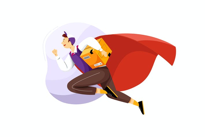Thumbnail for Superhero Delivery Service Vector Illustration
