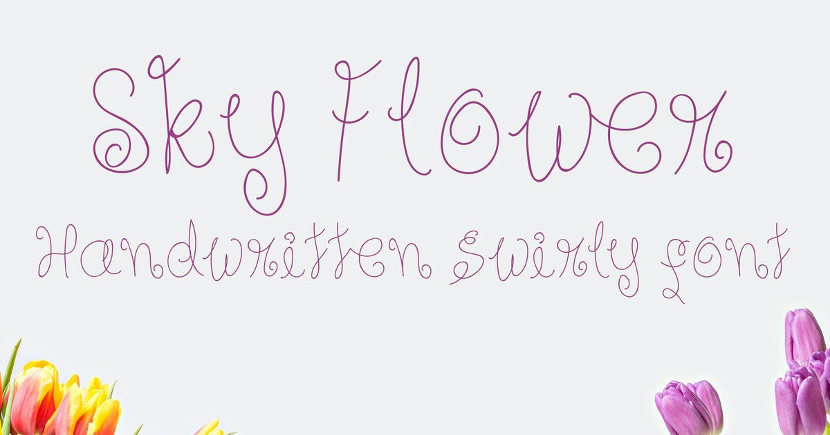 Download Sky Flower - Handwritten Font by Muse-Master