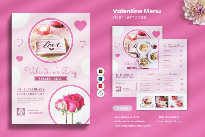 Thumbnail for Dépliant Menu Saint Valentin