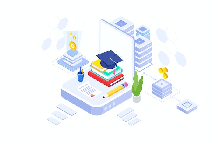 Cover Image For Fund Higher Education Isometric Illustration - FV