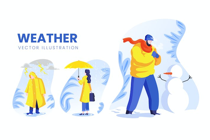 Thumbnail for Weather Condition Vector Character Set
