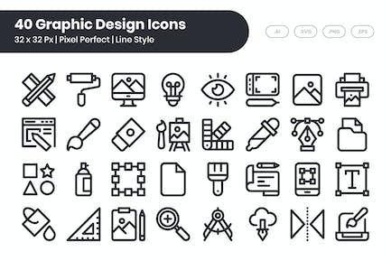 40 Grafik-Design-Icons Set - Linie