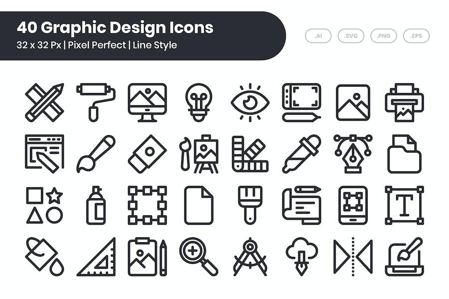 Juego de 40 Íconos de diseño gráfico - Línea