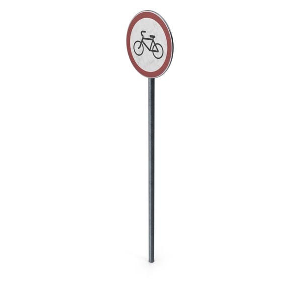 Traffic Sign No Cycling Turn With Pole