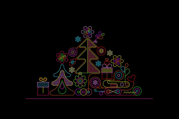 Christmas Tree Neon Design + 2 line art options