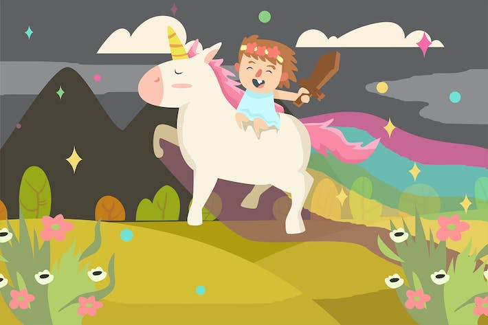 Thumbnail for Cute Girl with Unicorn - Vector illustration