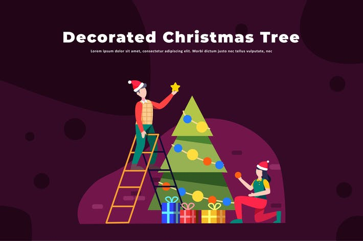 Thumbnail for Decorated Christmas Tree - Activity Illustration
