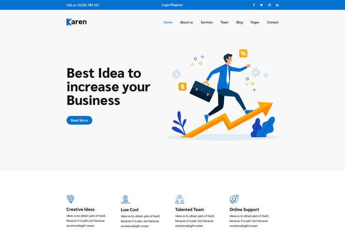 Thumbnail for Karen – Corporate Business Bootstrap 4 Template