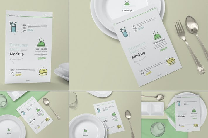 Thumbnail for Restaurant Menu Card Mockups