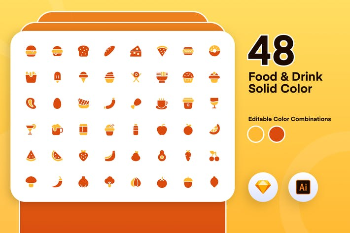 Thumbnail for Food And Drink Solid Color Icon Set