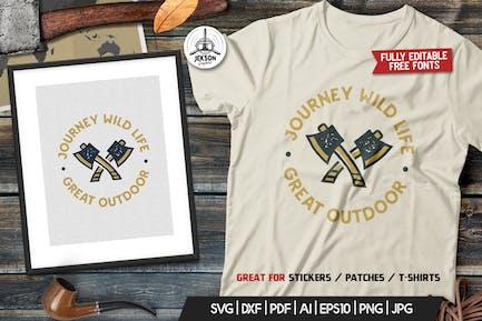Outdoor Logo, Adventure Retro Print, Camp Shirt