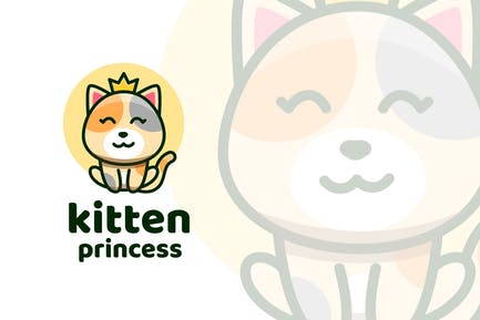 Kitten Princess Cute Logo Template