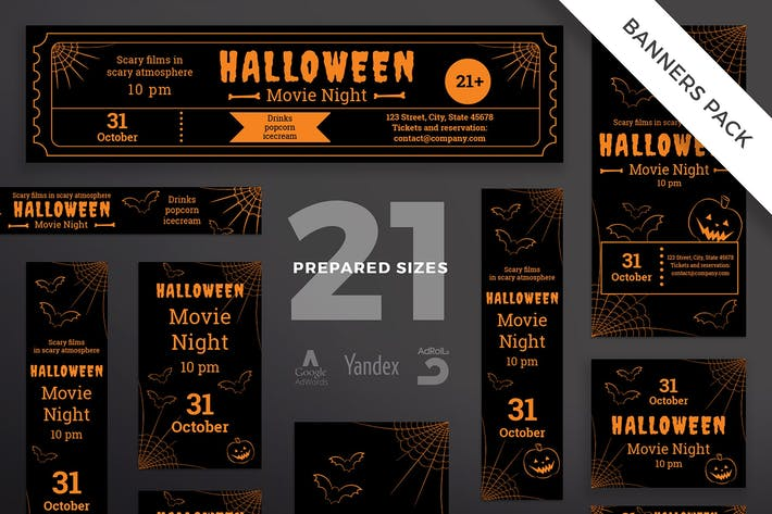 Thumbnail for Halloween Movie Night Banner Pack Template
