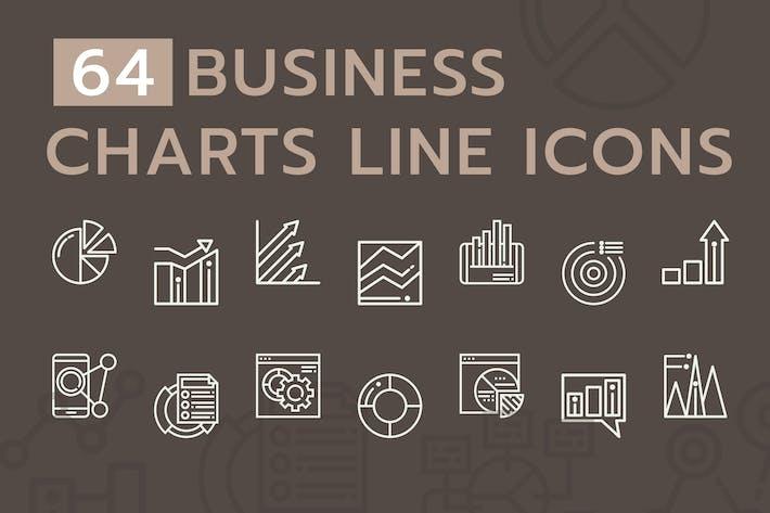 LinienIcons für Geschäftsdiagramme