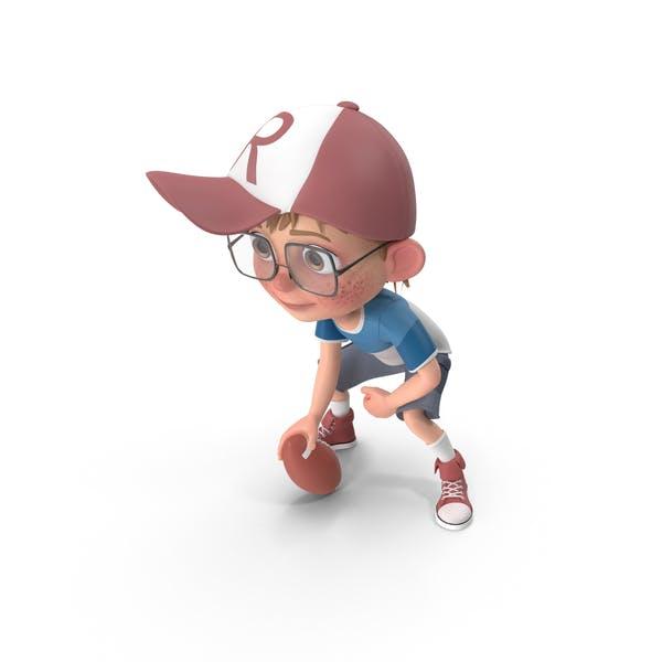 Cartoon Boy Harry Playing Rugby