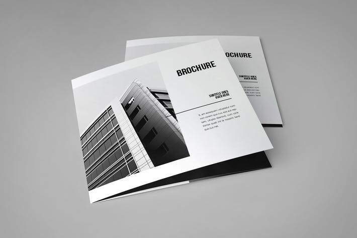 Cover Image For Square Minimal Black & White Architecture Trifold