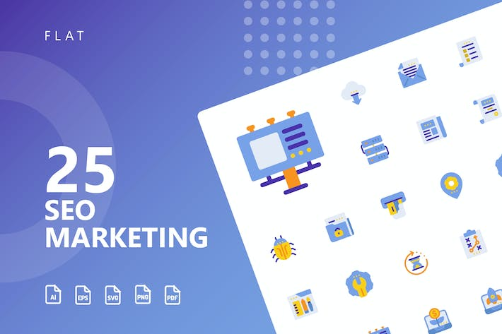 Cover Image For SEO Marketing Flat Icons