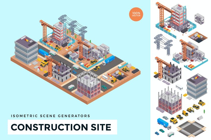 Thumbnail for Isometric Under Construction Site Vector Scene