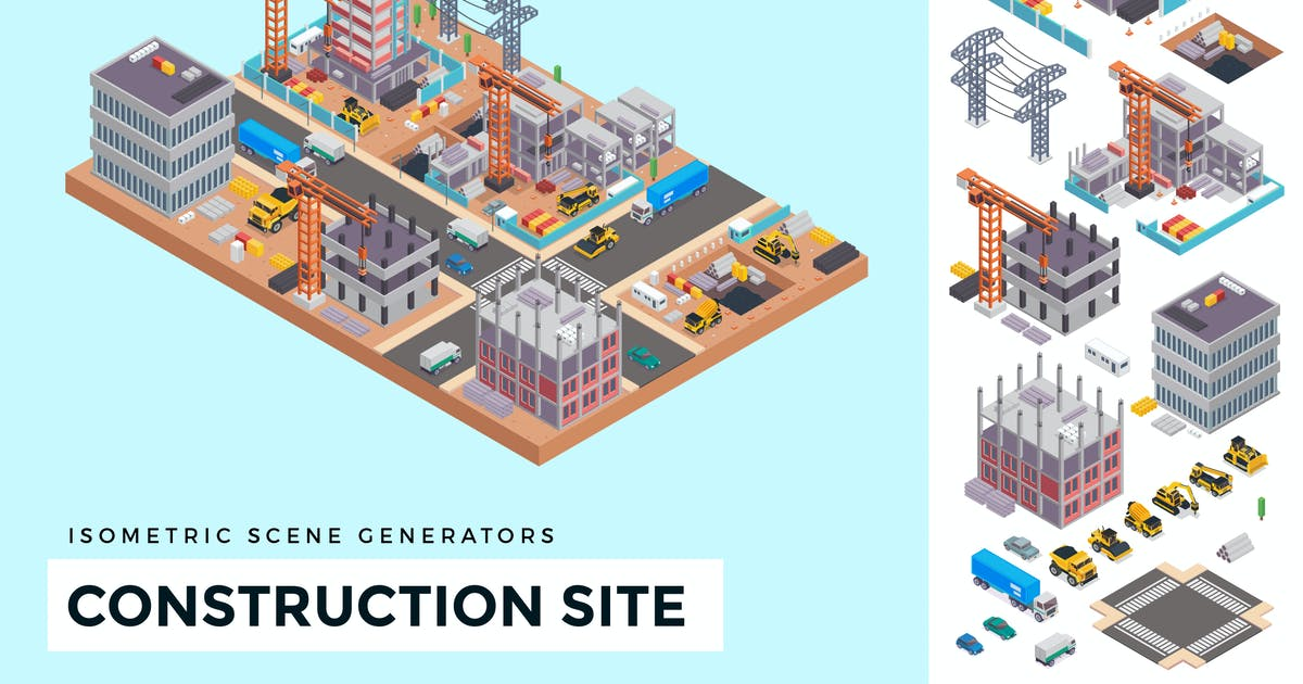 Download Isometric Under Construction Site Vector Scene by naulicrea