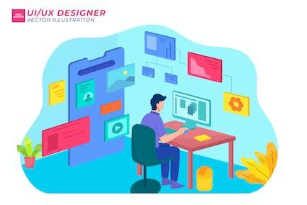 UI UX Designer Isometric Illustration
