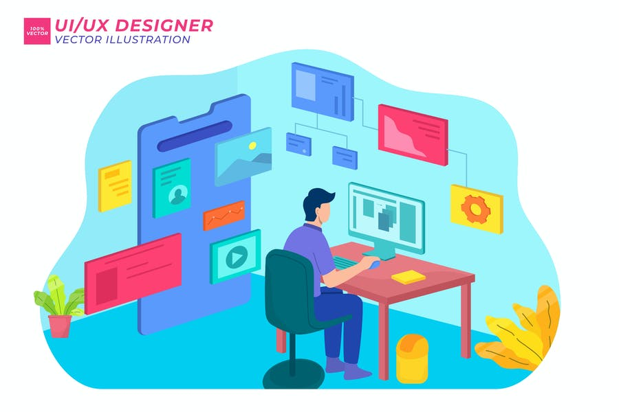 UX Designer-isometrische Illustration