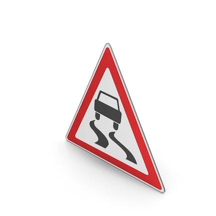 Verkehrszeichen rutschige Straßenoberfläche