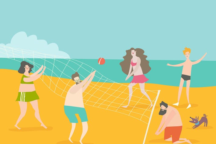 Thumbnail for Cartoon glückliche Menschen spielen Volleyball am Meer