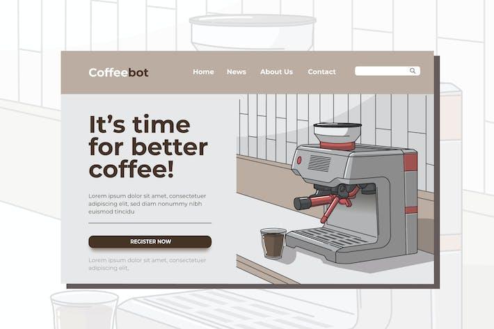 Thumbnail for Ilustración de la página de inicio de la máquina de café