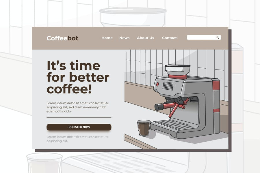 Coffee Machine Landing Page Illustration