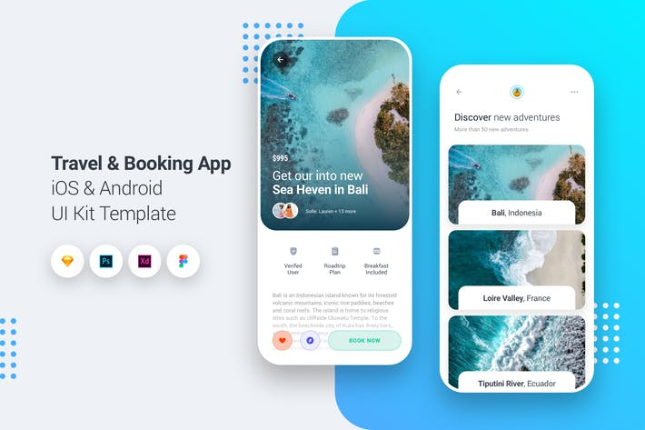 Cover Image For Travel & Booking App iOS & Android UI Kit Template
