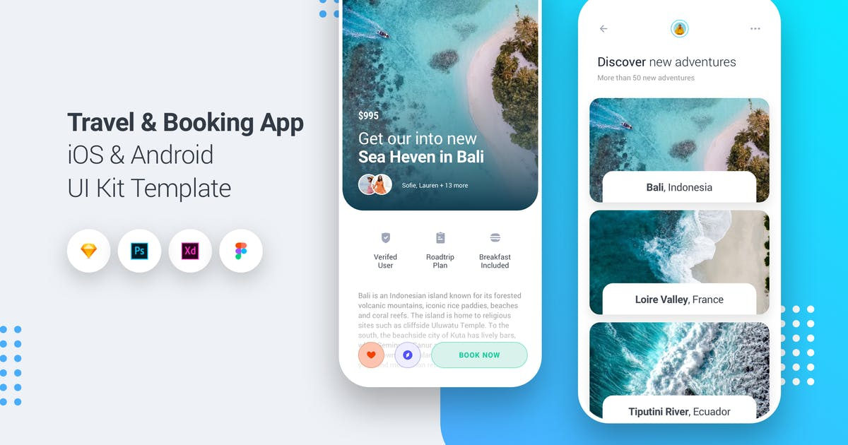 Download Travel & Booking App iOS & Android UI Kit Template by panoplystore