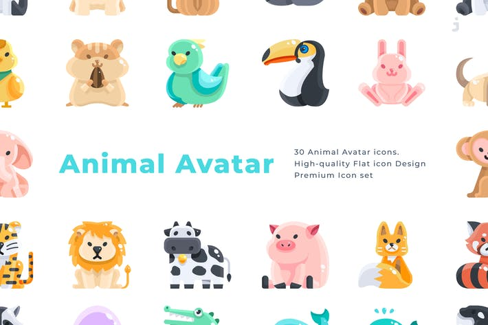Thumbnail for 30 Animal Avatar Icons - Flat