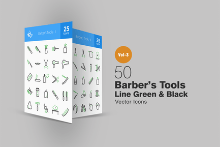 50 Barber's Tools Line Green & Black Icons