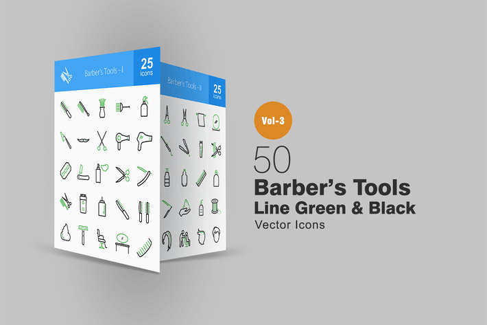 Thumbnail for 50 Barber's Tools Line Green & Black Icons