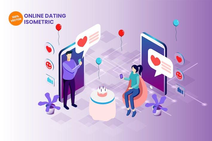 Thumbnail for Isometric Online Dating Vector Illustration