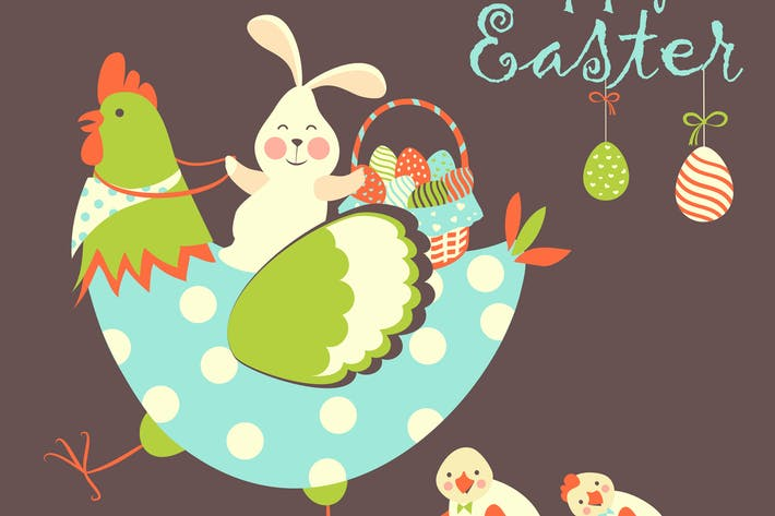 Thumbnail for Easter bunny,chicken and easter eggs. Vector