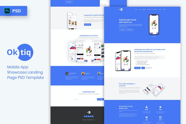 Thumbnail for Mobile App Showcase - Landing Page PSD Template