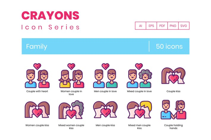 50 Family Icons - Crayons Series