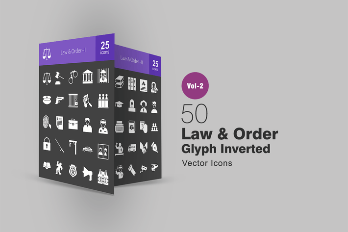 Thumbnail for 50 Law & Order Glyph Inverted Icons