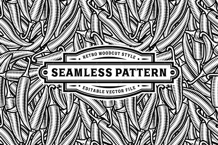 Thumbnail for Seamless Chili Pepper Pattern Black And White