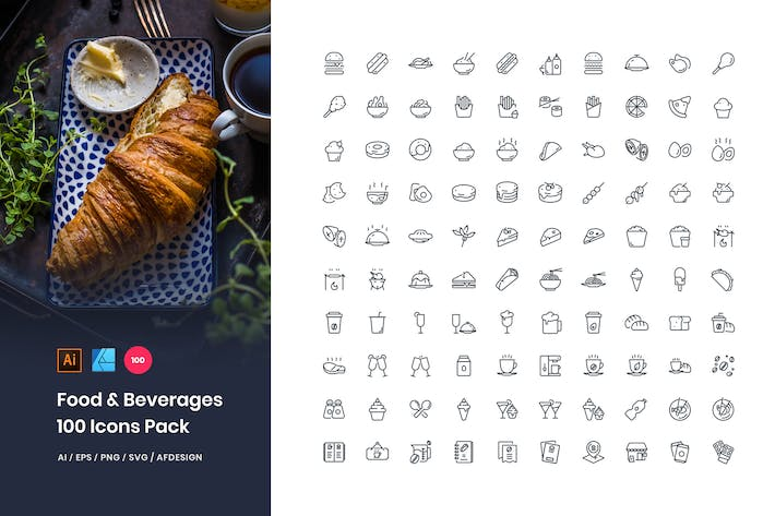 Cover Image For Food & Beverages 100 Set Icons Pack
