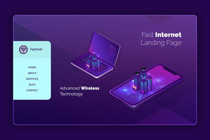 Thumbnail for Fastnet - Hero Banner Landing Page Template